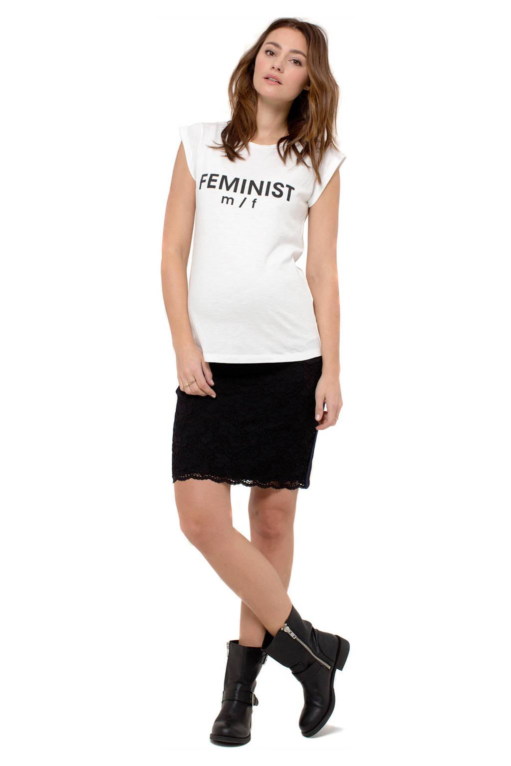 Queen mum zwangerschaps T-shirts met tekst print, Off White