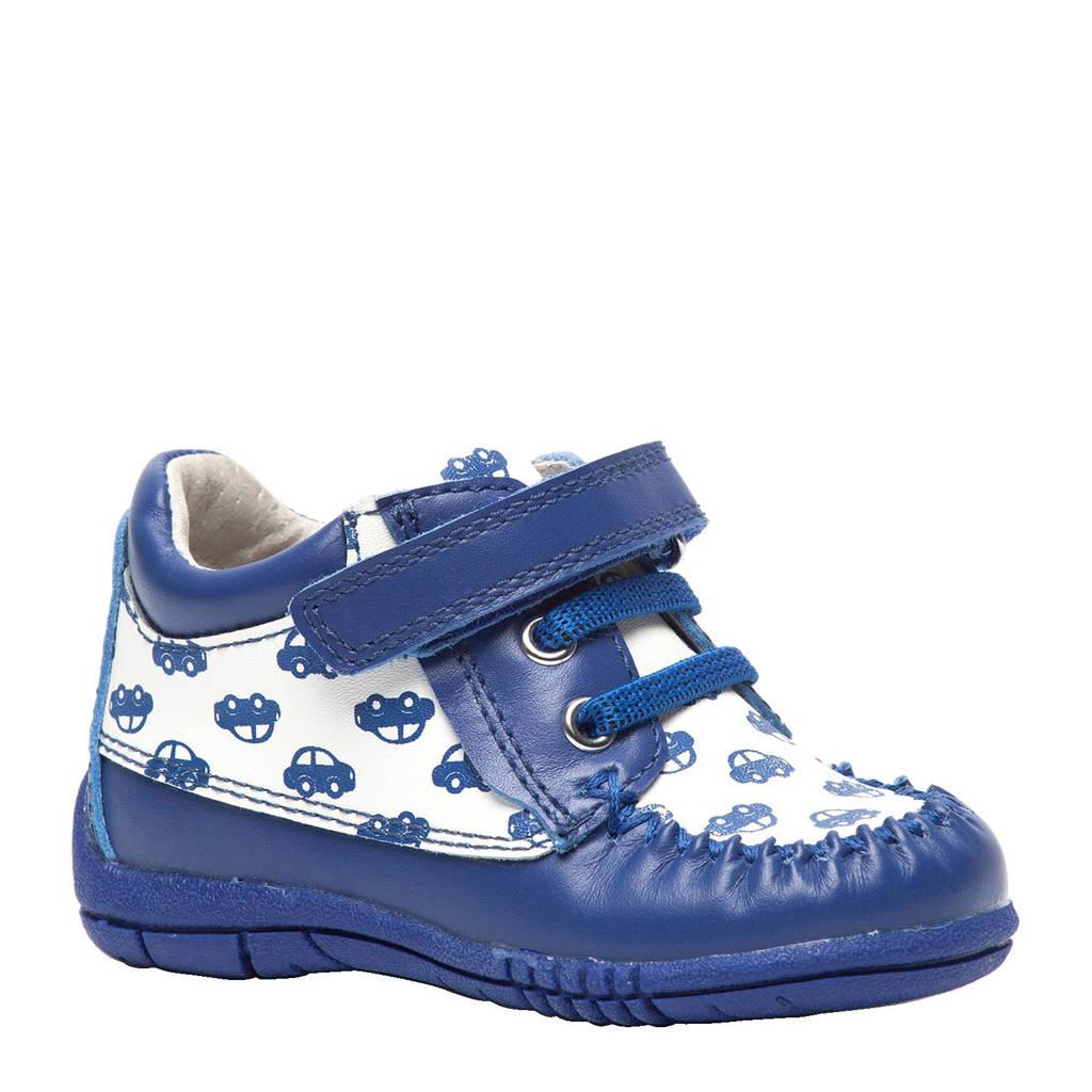TwoDay  leren sneakers met auto's, Donkerblauw/wit