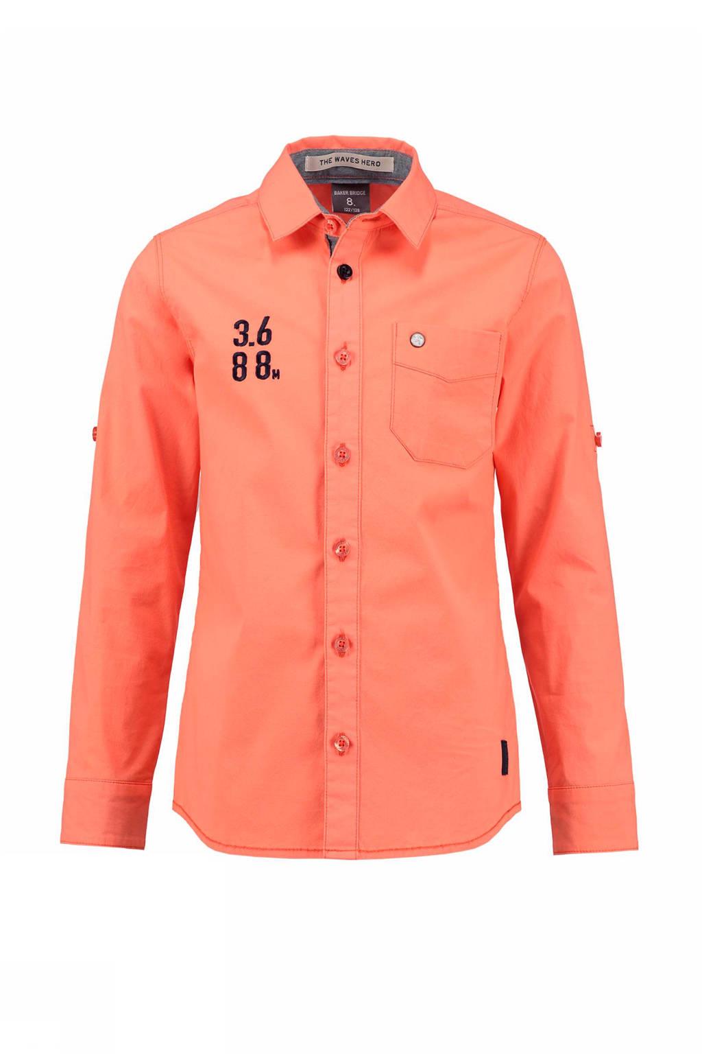 Baker Bridge slim fit overhemd met borduursel, Oranje