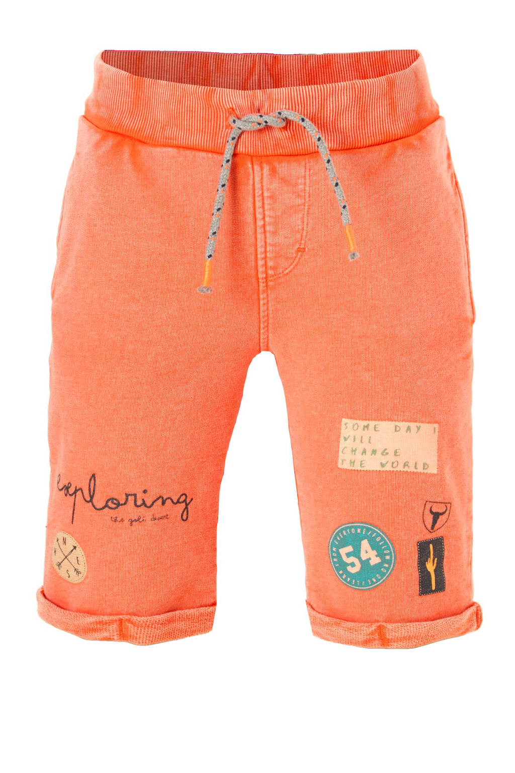 name it KIDS sweatshort Jim, Oranje/ donkerblauw