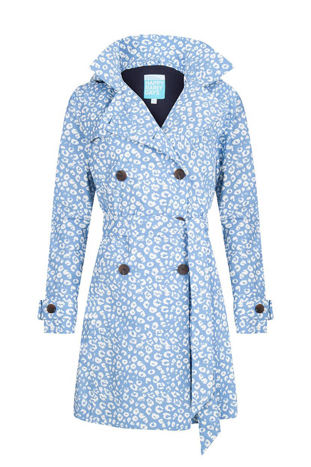 Happy Rainy Days regenjas met all over print lichtblauw/wit, Lichtblauw/wit