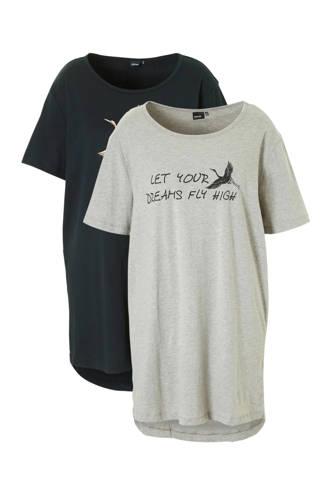 katoenen nachthemd set van 2 zwart