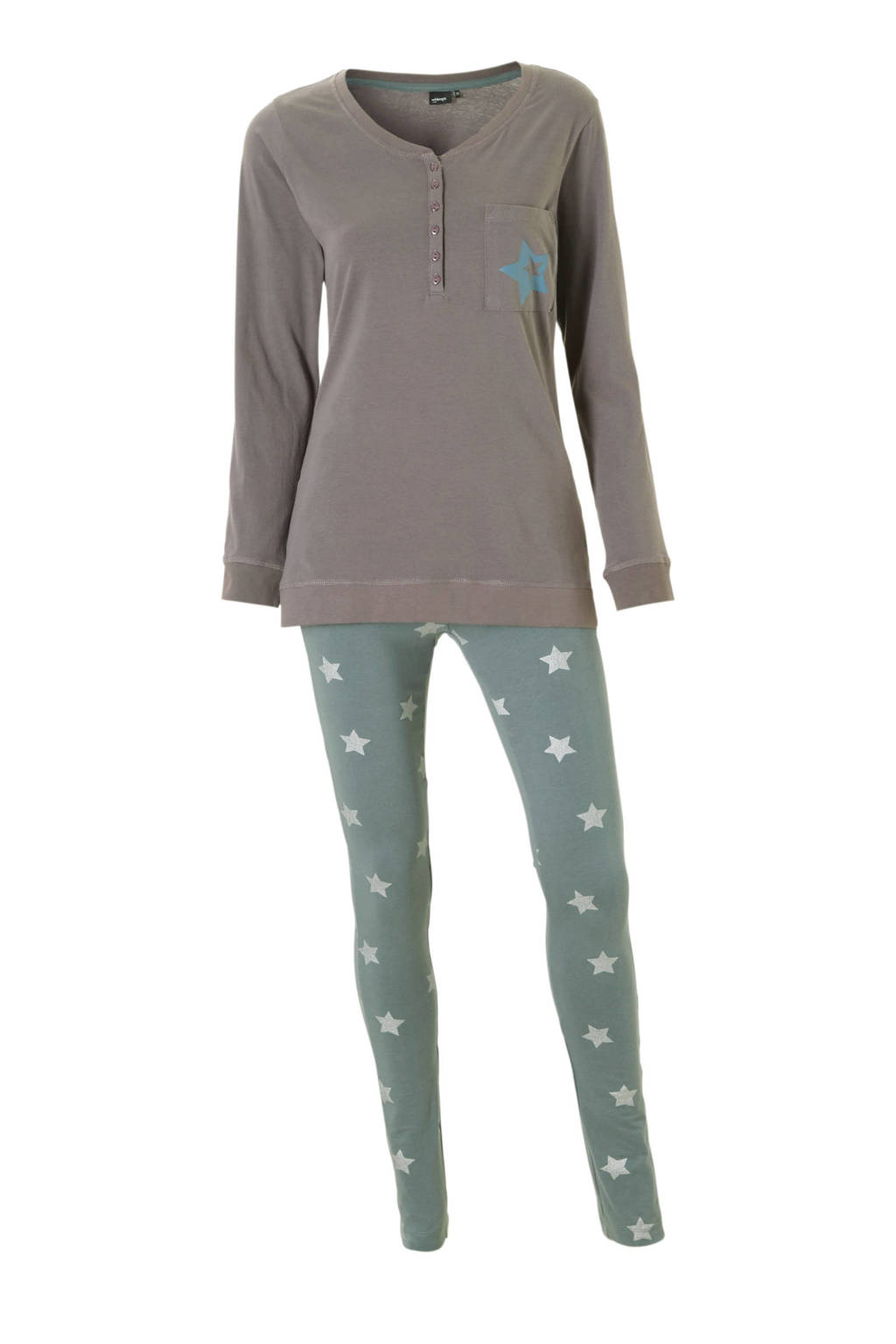 whkmp's own pyjama met sterren taupe, Taupe/groen