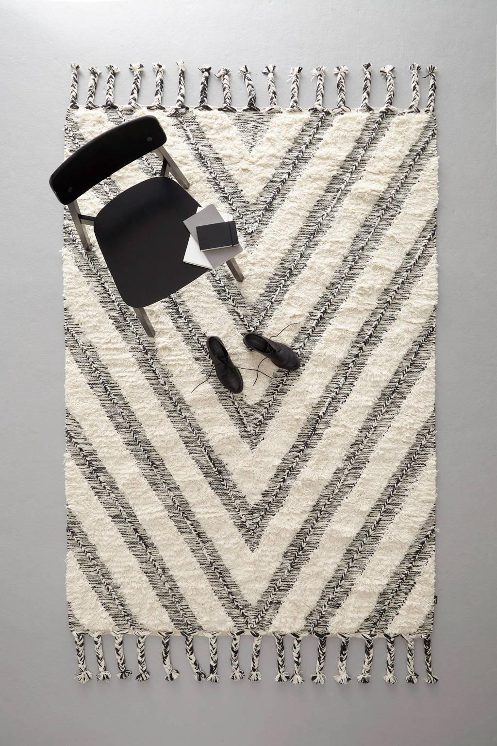 whkmp's own vloerkleed  (230x160 cm), Roomwit/zwart
