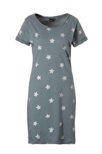 nachthemd met sterren grijsgroen