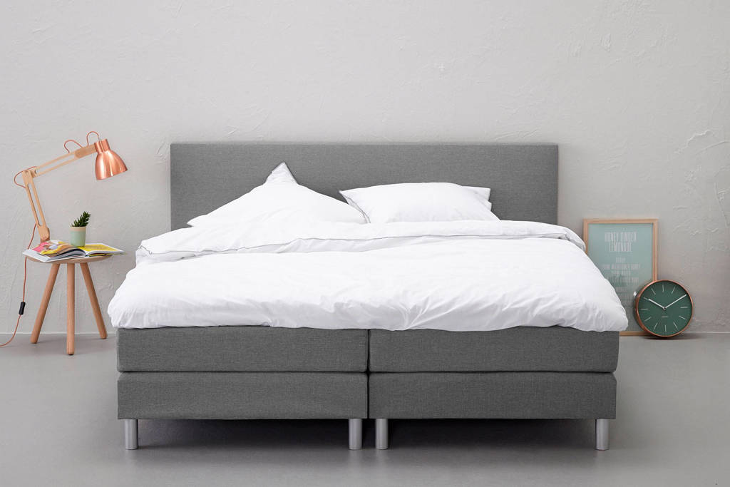Beter Bed complete boxspring Ambra (160x200 cm), Lichtgrijs
