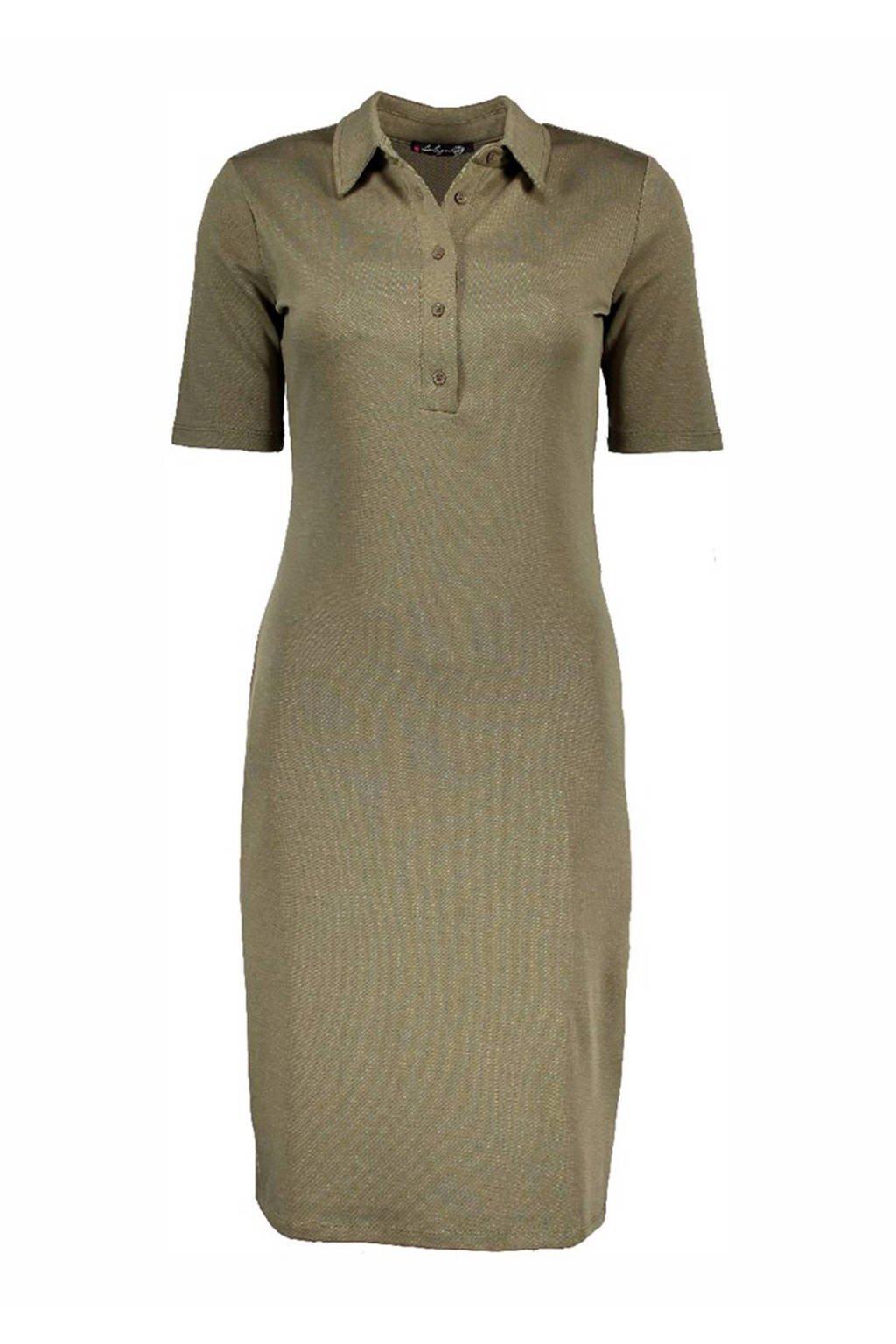koop het beste groot assortiment speciaal voor schoenen polo jurk olijfgroen