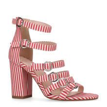 gestreepte sandalettes