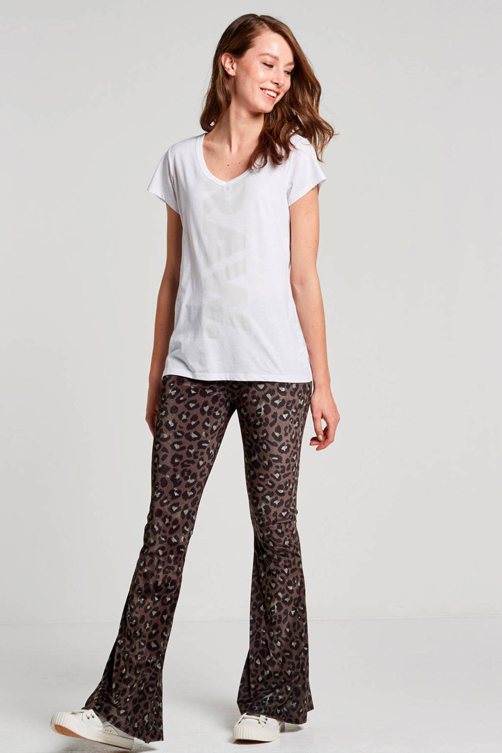 Catwalk Junkie Cheetah Woodstock fluwelen flared broek, Groen/zwart