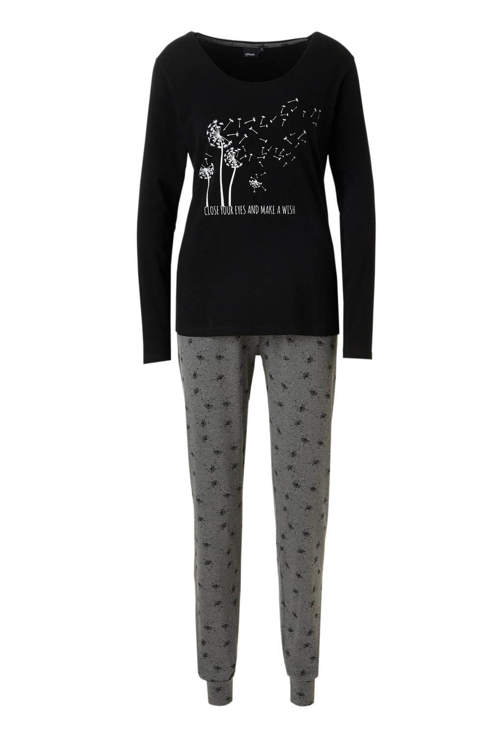 whkmp's own pyjama met print zwart/grijs, Zwart/grijs mêlee