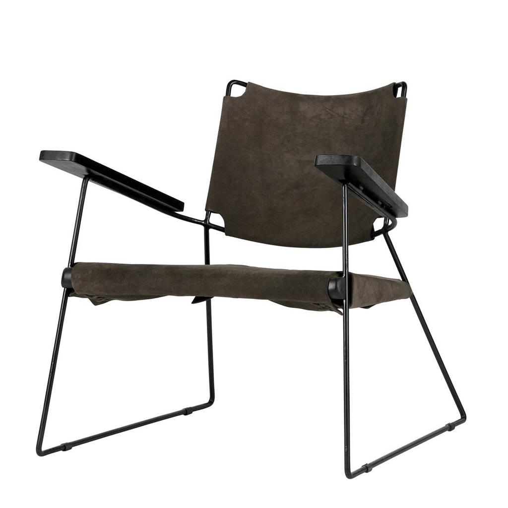 BePureHome suède fauteuil Future, Warm grijs, zwart