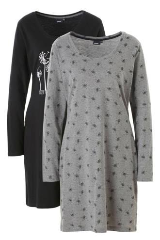 nachthemd set van 2 zwart/antraciet
