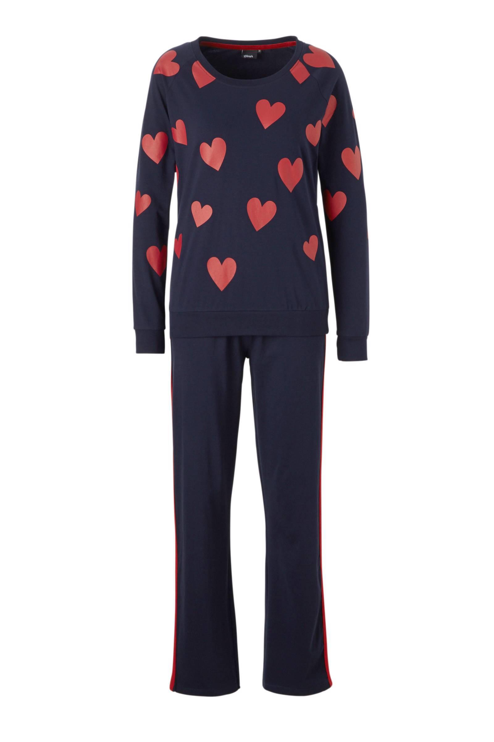 whkmp's own pyjama met hartjes blauw/rood (dames)