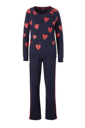 pyjama met hartjes blauw/rood