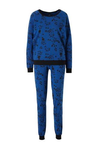 pyjama met all over print blauw/zwart
