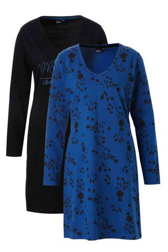 nachthemd (set van 2) blauw/zwart