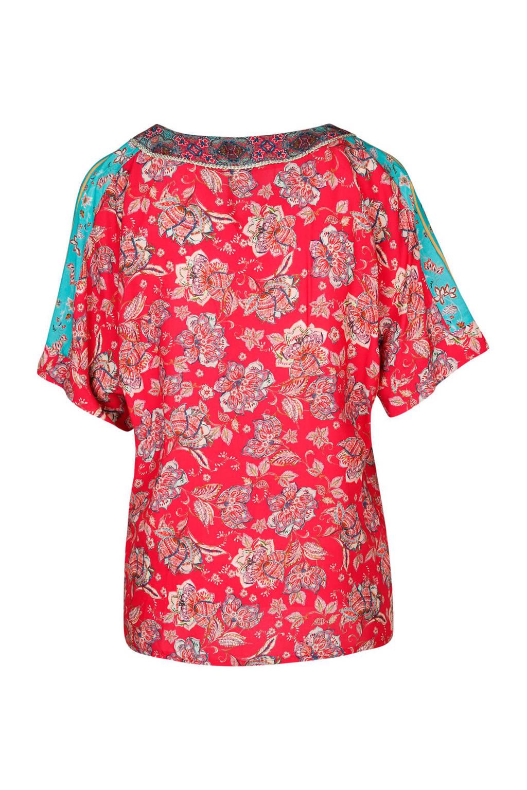 Cassis top met bloemen, Rood/turquoise