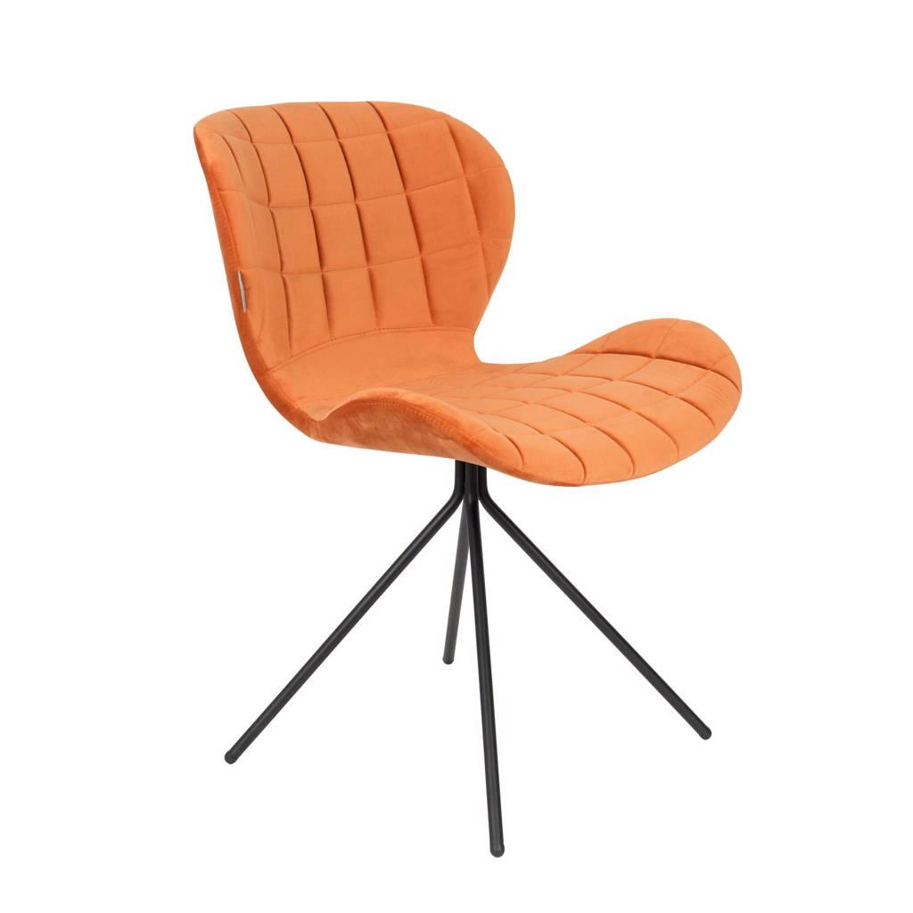 Zuiver OMG Velvet eetkamerstoel (set van 2), Oranje, Velours (100% polyester), staal