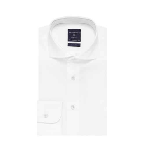 Overhemd Profuomo slim fit wit uni strijkvrij 38