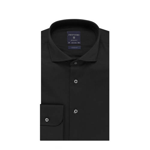 Overhemd Profuomo slim fit zwart strijkvrij 38