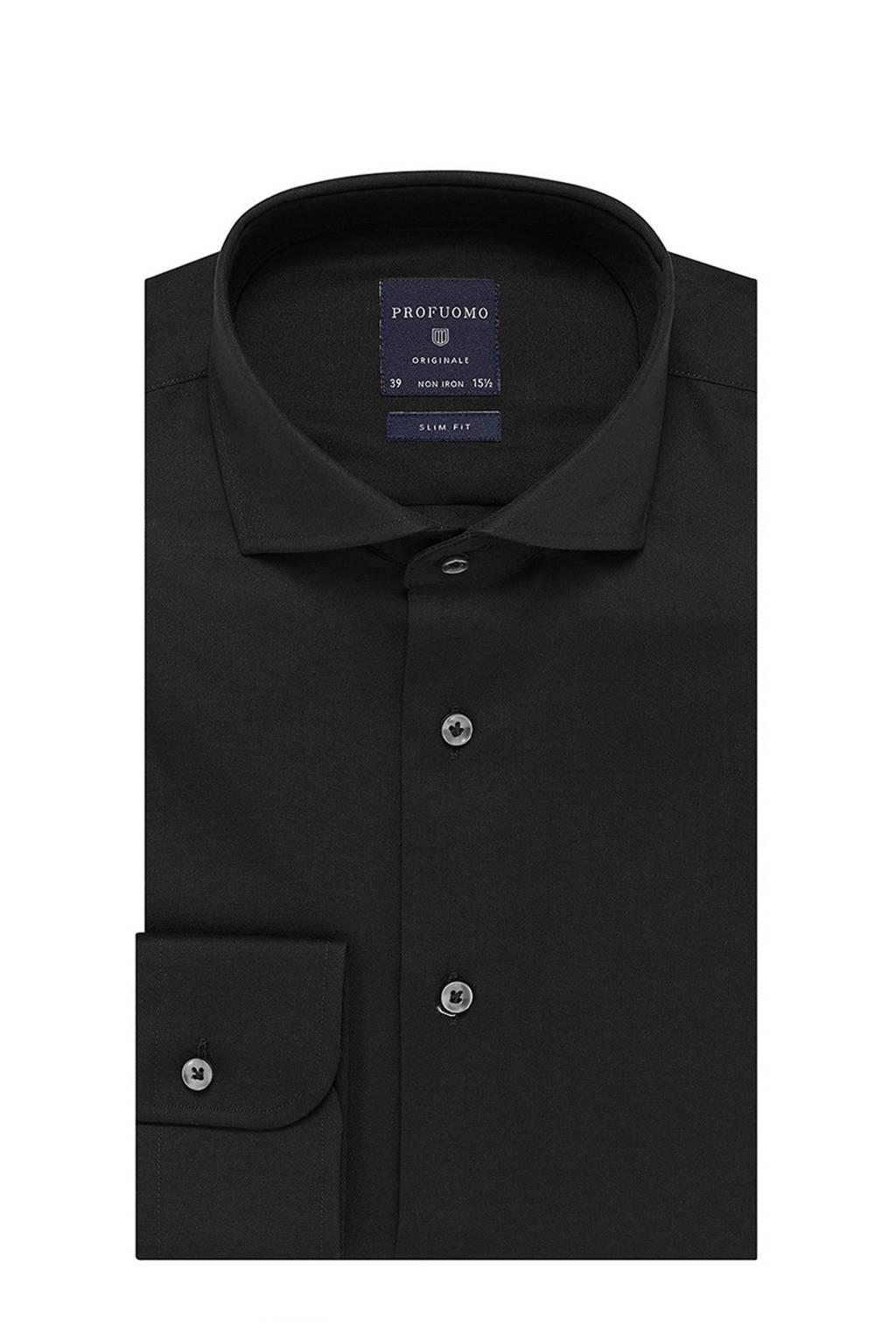 Profuomo slim fit overhemd, Zwart