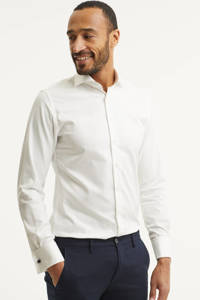 Profuomo slim fit overhemd met dubbele manchet, Wit