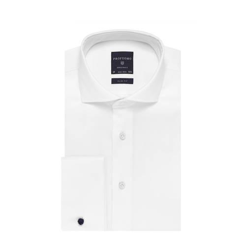 Profuomo overhemd slim fit wit dubbele manchet 38