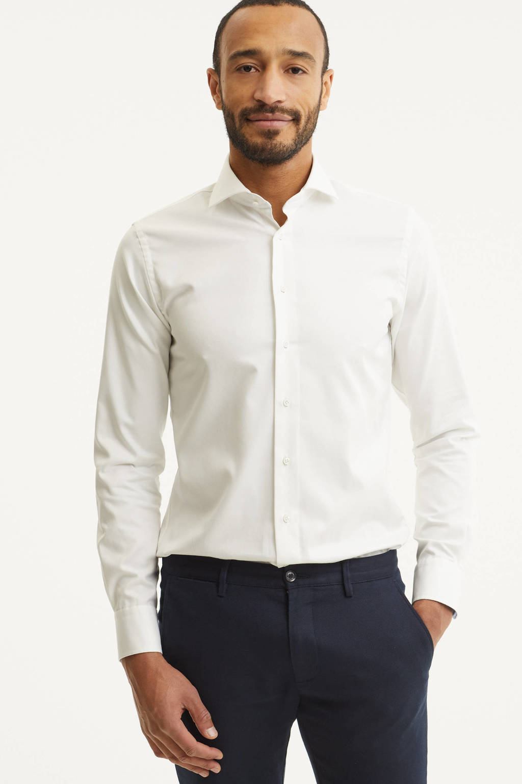 Profuomo slim fit overhemd, Wit