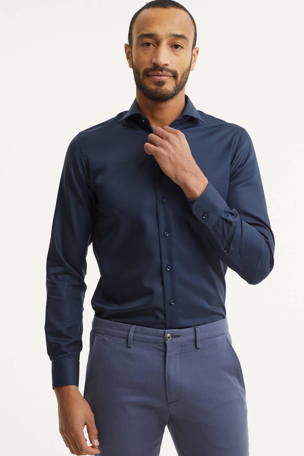 Profuomo slim fit overhemd, Marineblauw