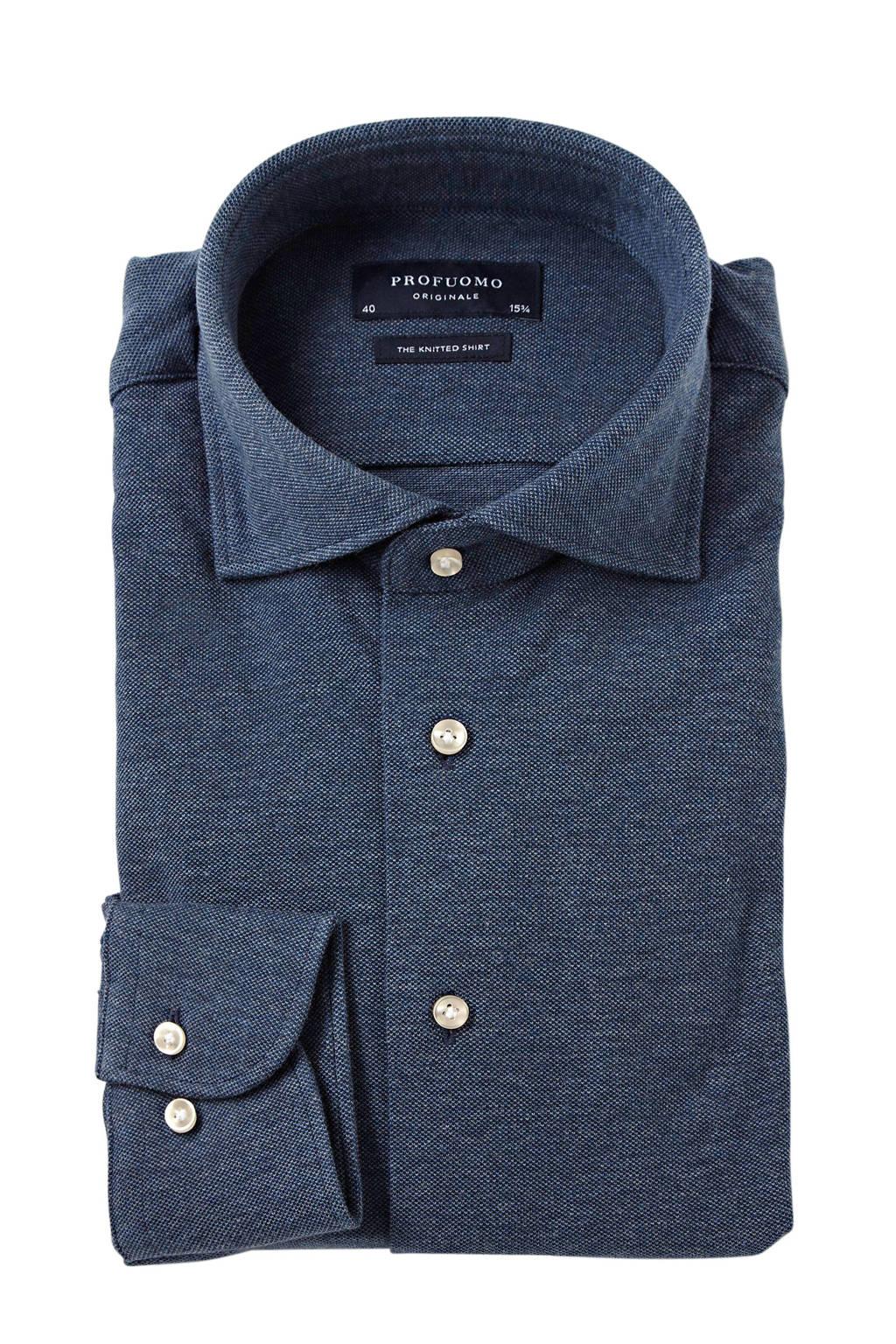 Profuomo slim fit jersey overhemd, Donkerblauw