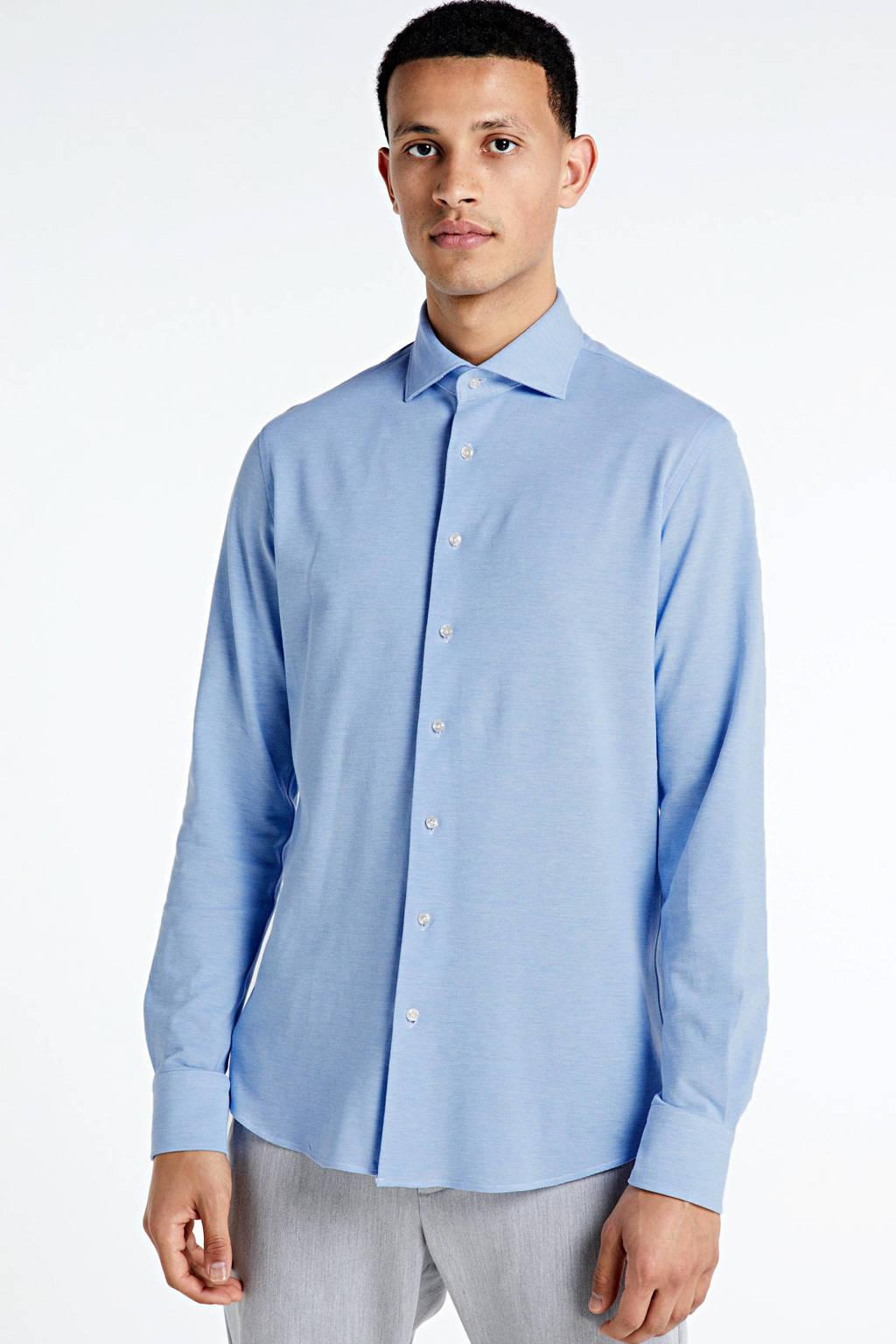 Profuomo slim fit jersey overhemd, Lichtblauw