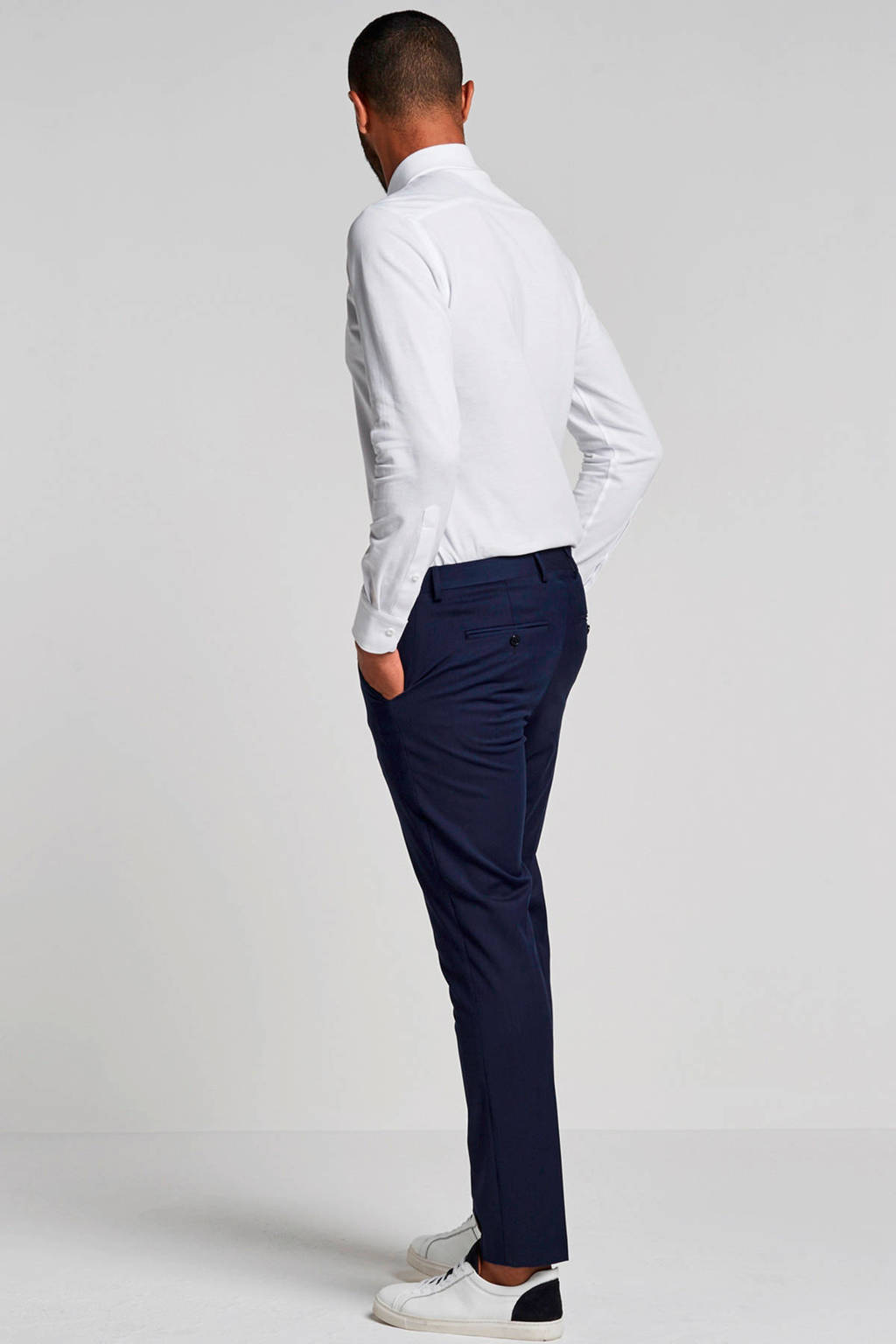 Profuomo slim fit jersey overhemd, Wit