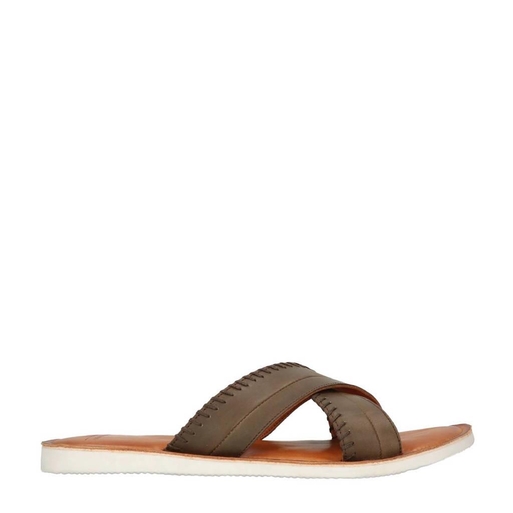 Sacha   leren slippers, Bruin