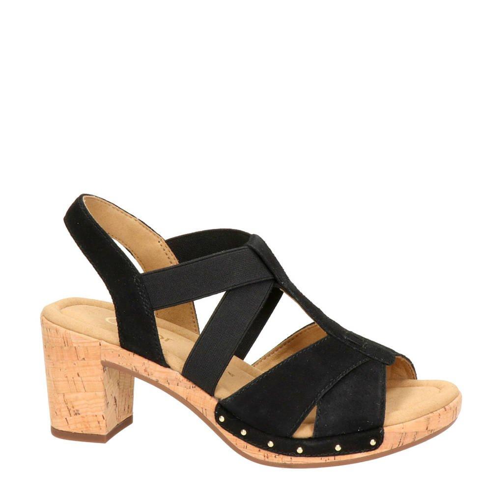 Gabor suède sandalettes met studs, Zwart