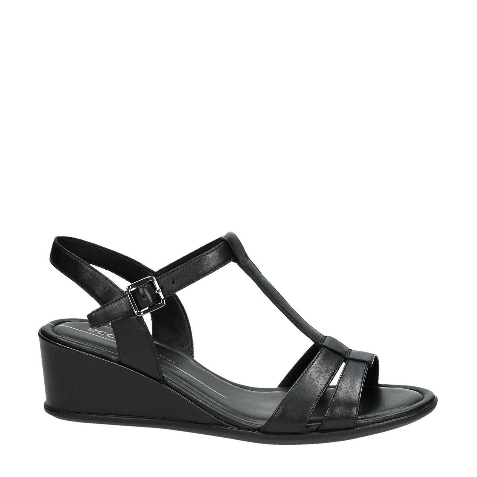 leren sandalettes Shape 35 Wedge zwart