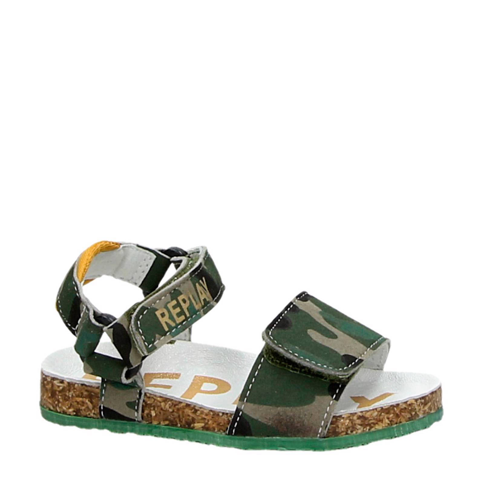 REPLAY suède sandalen met camouflageprint (jongens)