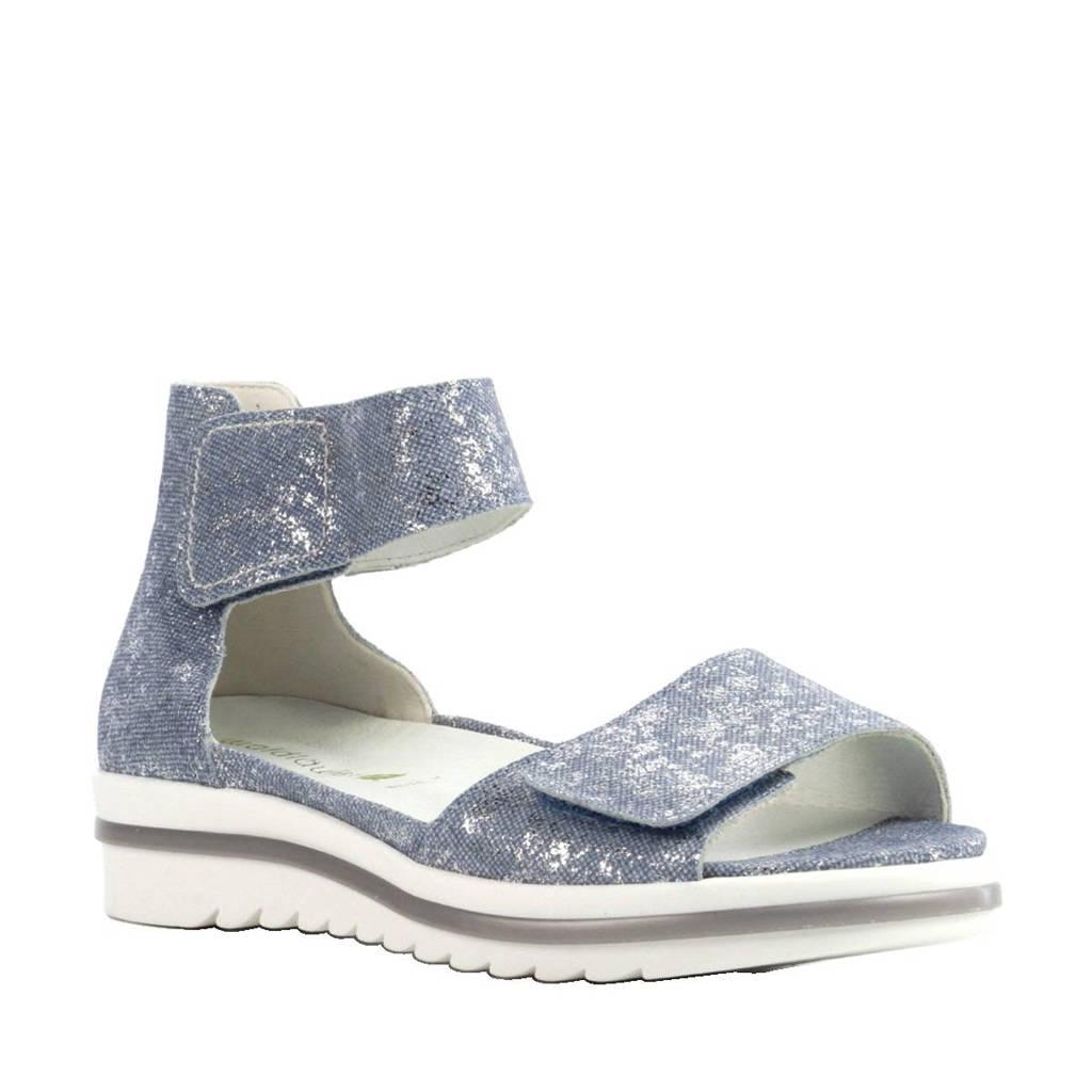 Waldlaufer metallic leren sandalen, metallic lichtblauw