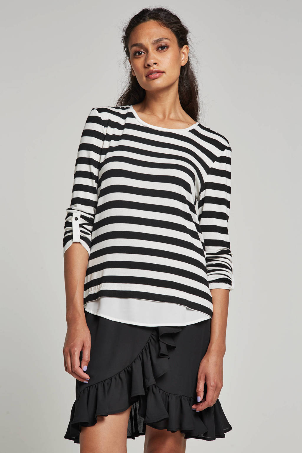 ESPRIT Women Collection top met strepen, Wit/zwart