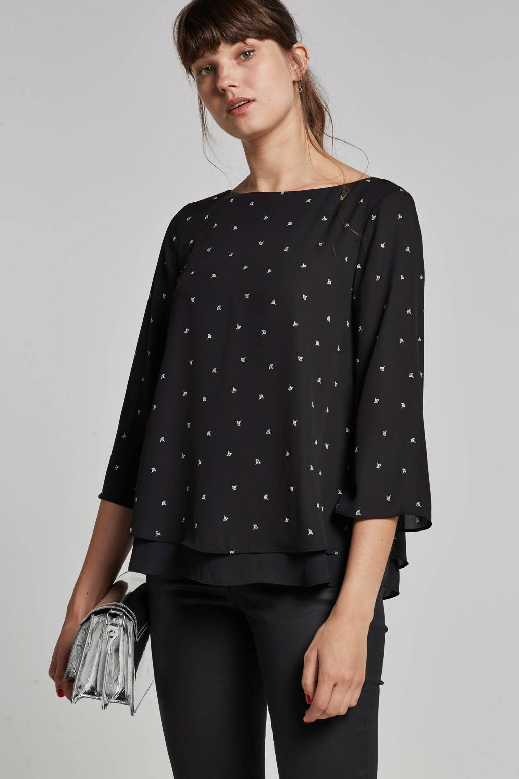 ESPRIT Women Collection blouse met all over print, Zwart/wit