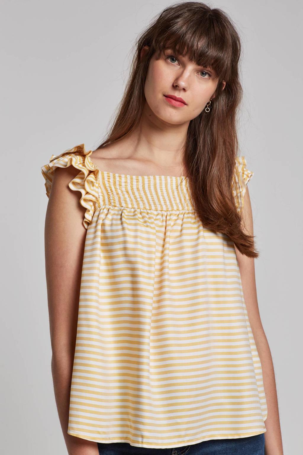 ESPRIT Women Casual top met ruches en strepen, Geel/wit