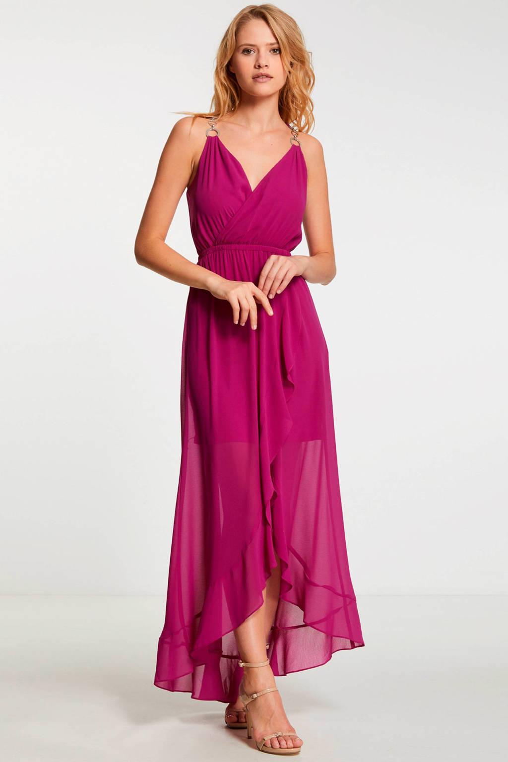 Morgan maxi jurk met mesh fuchsia, Fuchsia