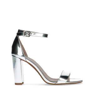 lakleren sandalettes zilver