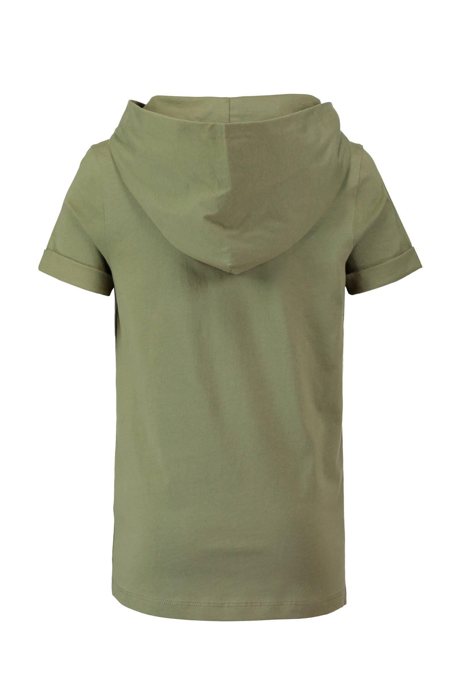 long fit T shirt met capuchon