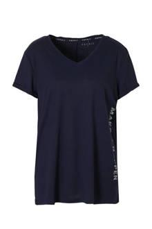 Women Sports sport T-shirts donkerblauw