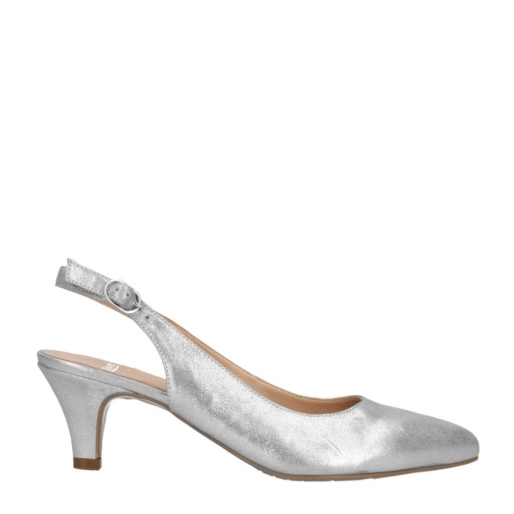 Manfield metallic suède slingback pumps, Zilver