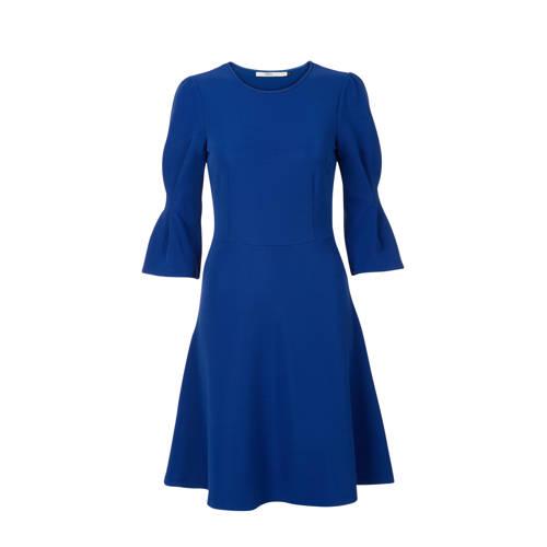 A-lijn jurk met trompetmouwen blauw