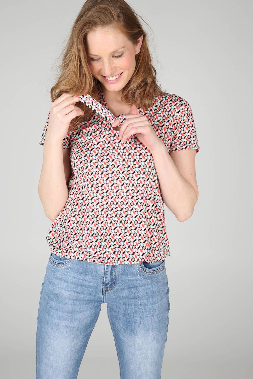 Cassis T-shirt met strik, Zalm/koraalrood