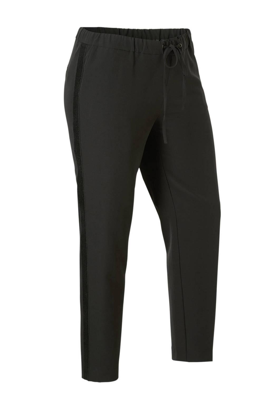 whkmp's great looks broek met glitter zijstreep (Waste2Wear), Zwart/zilverkleurige bies