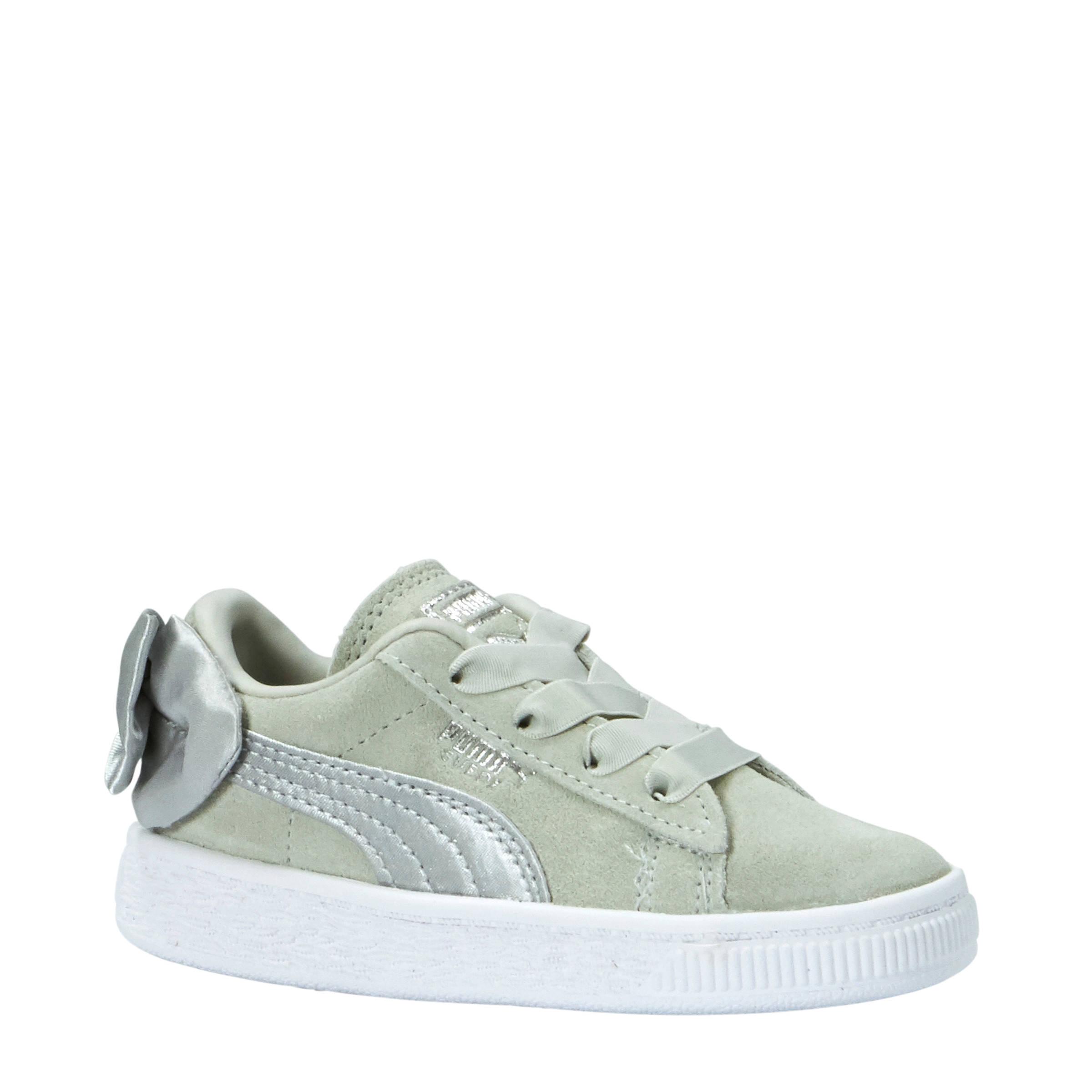 Puma Suède Bow sneakers grijsgroen | wehkamp