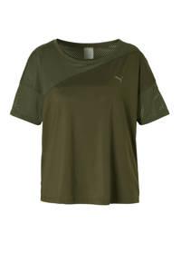 Puma / Puma mesh sport T-shirt donkergroen